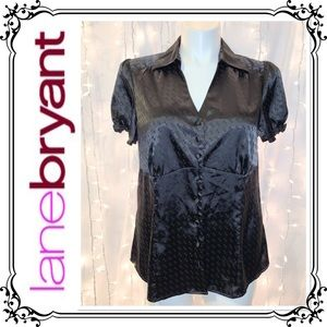LANE BRYANT * Black Satin Buttoned Blouse * 14/16